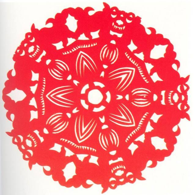 五折团花剪纸图案